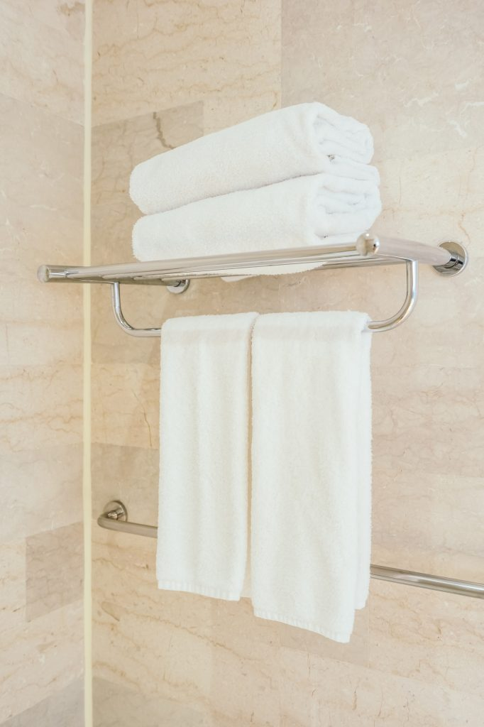 White towel in bathroom